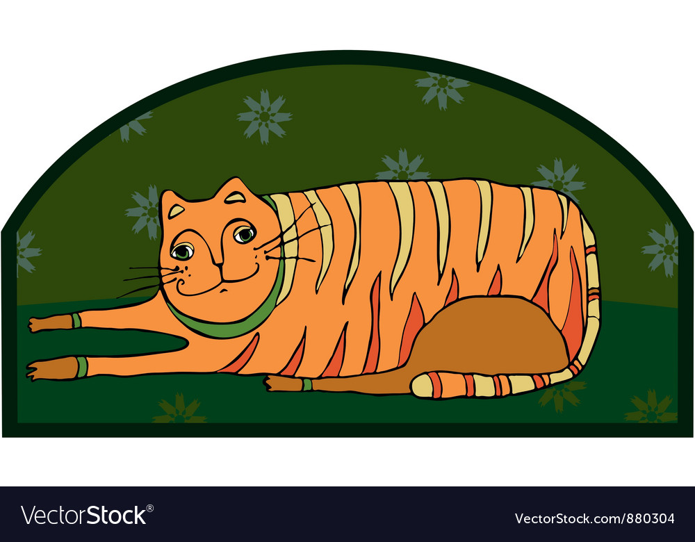 Big striped cat vector