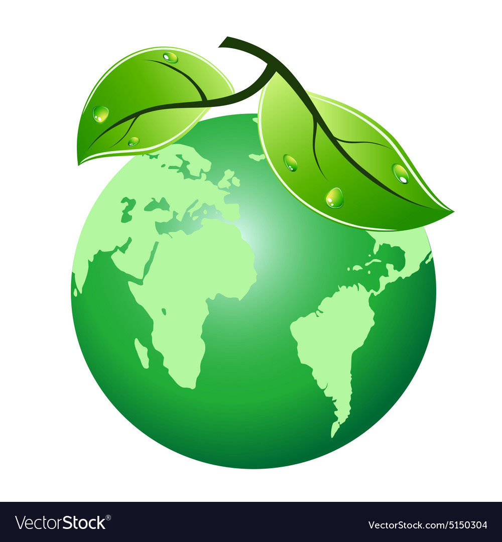 Green leaf earth icon vector