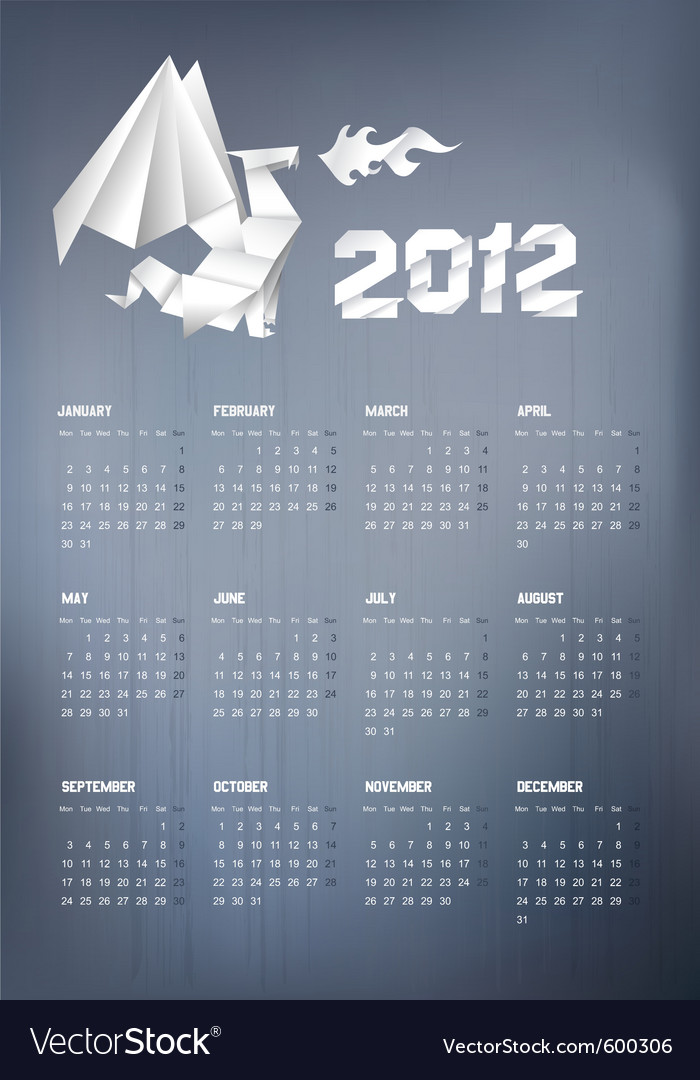 2012 origami dragon calendar vector