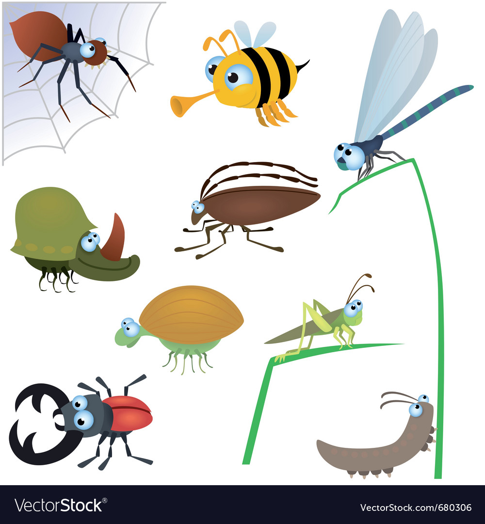 Funny insects vector