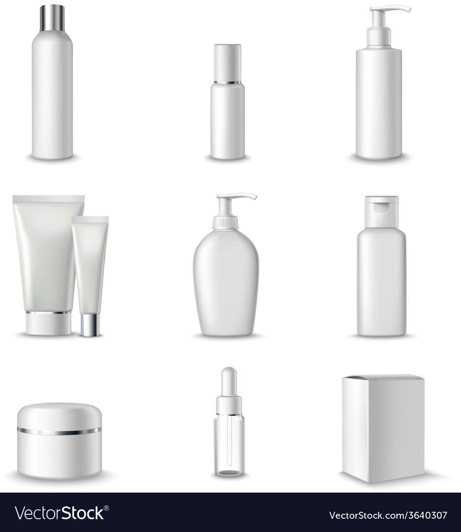Cosmetics packages set vector