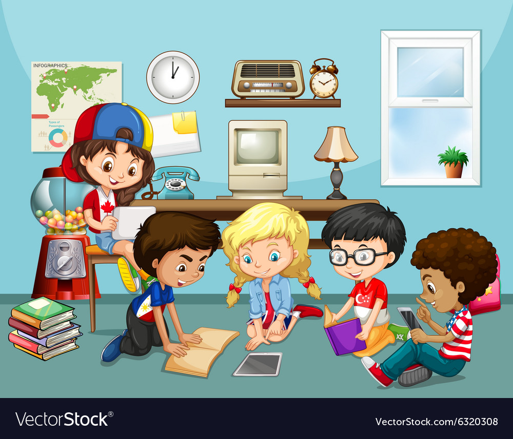 Many children working in classroom vector
