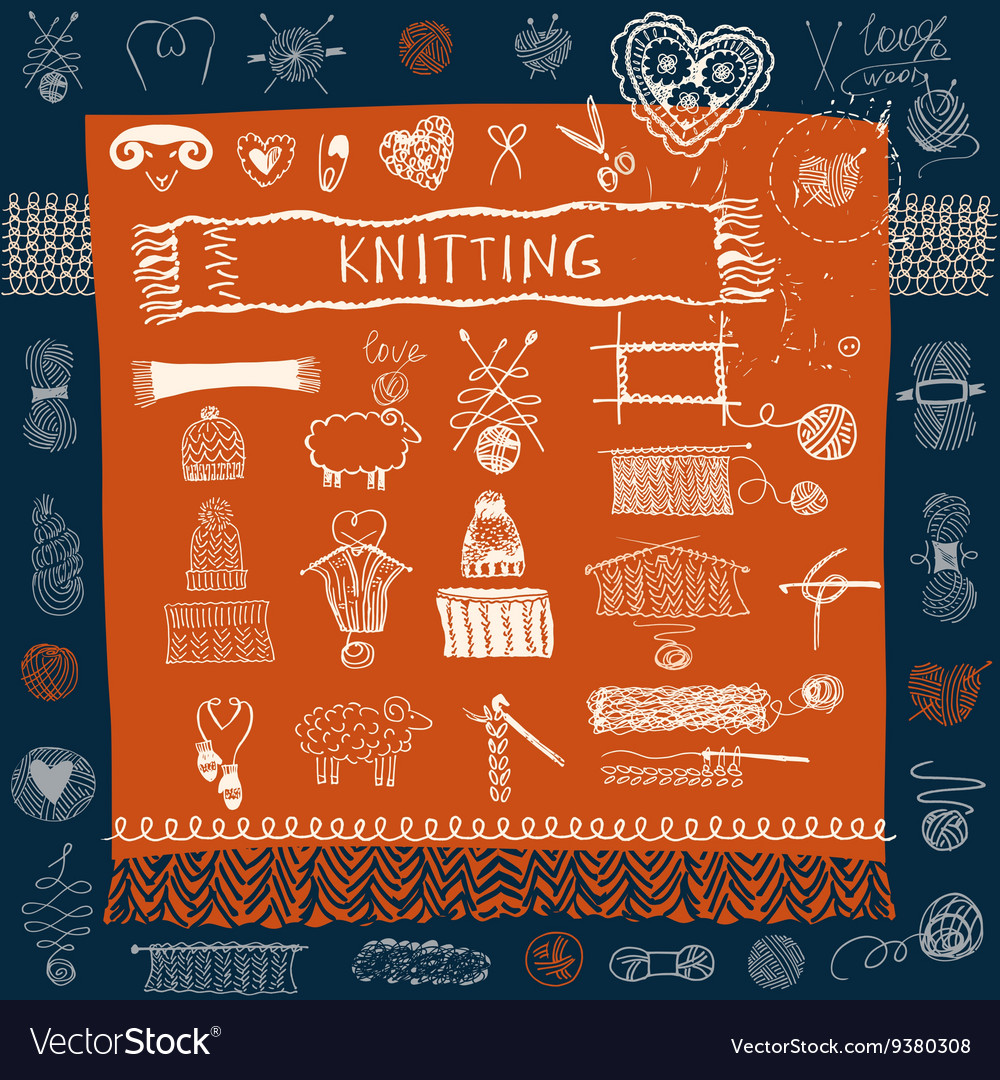 Set of knitting hats and snood scarf and mittens vector