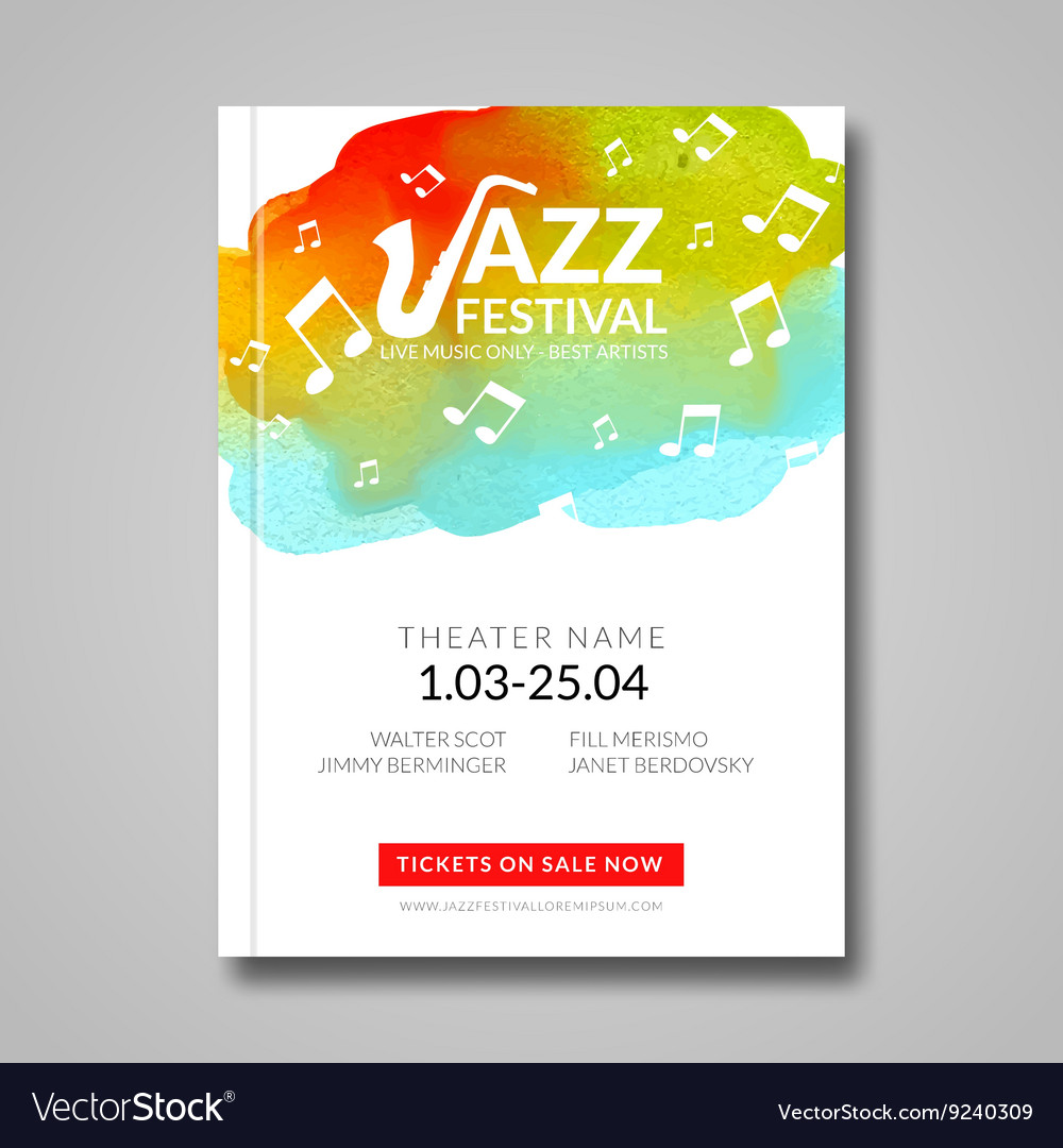 Musical poster design watercolor stain vector
