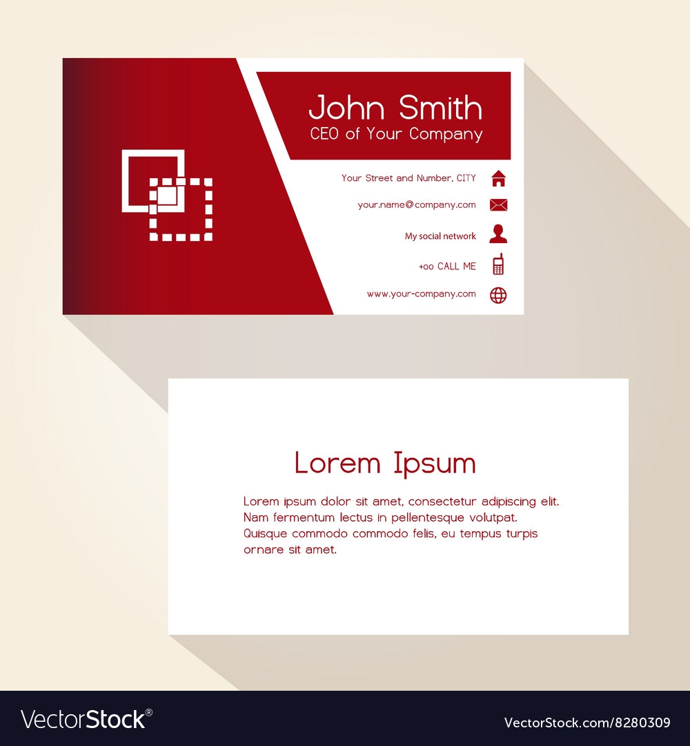 Simple red and white business card design eps10 vector