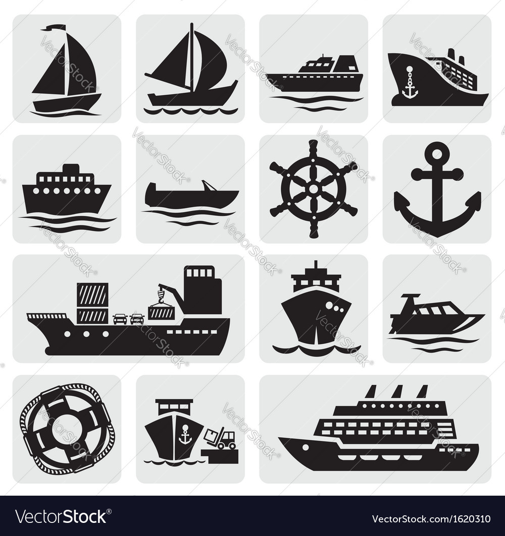 Boat and ship icons set vector