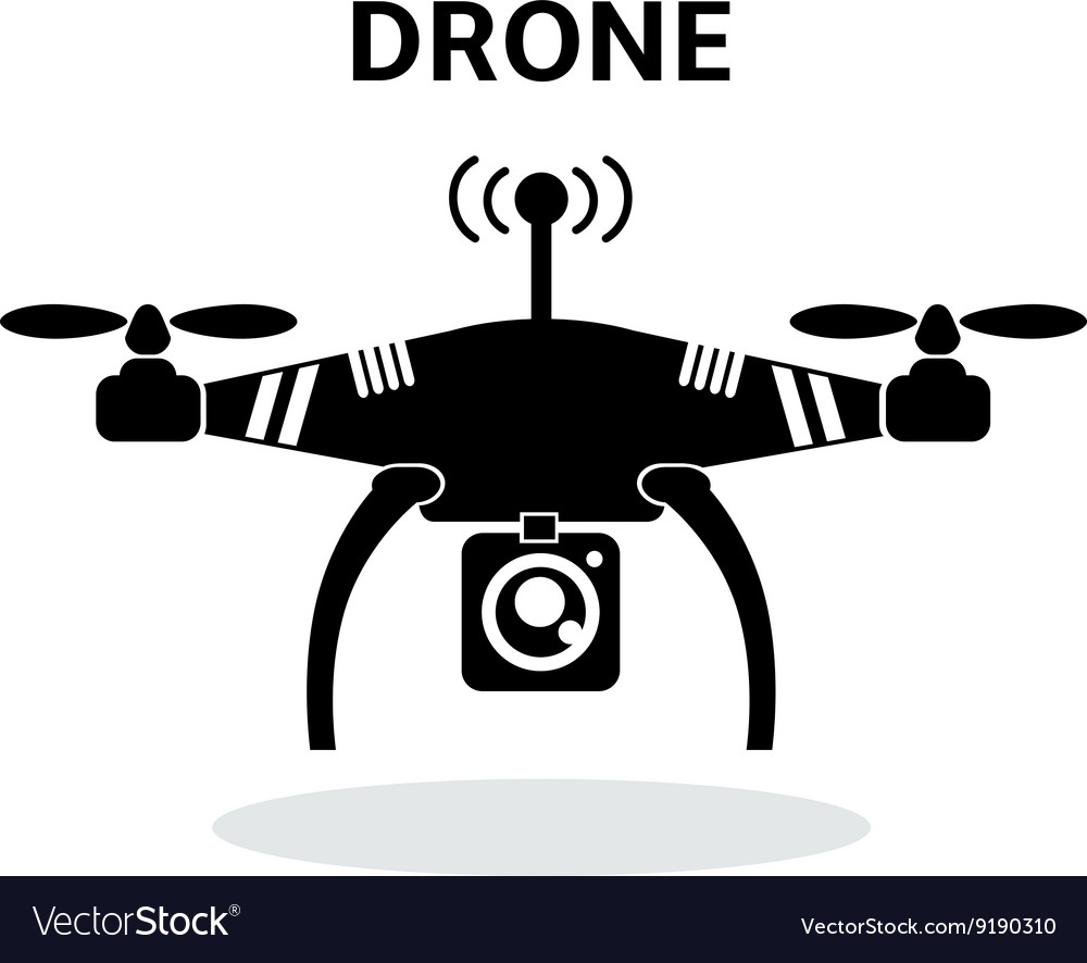 Drone black and white icon vector