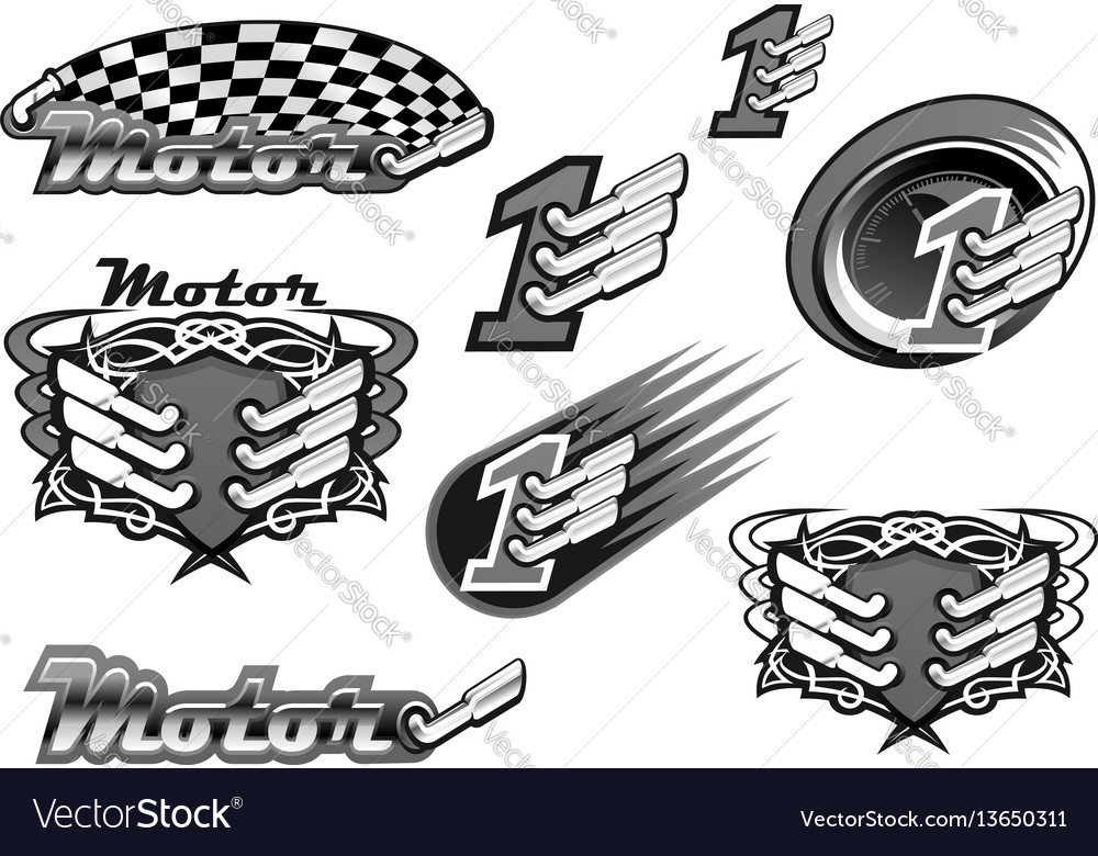 Car or motor racing icons vector