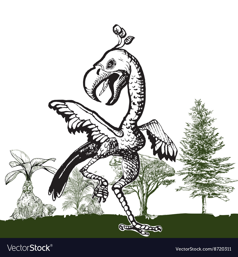 Dancing dino bird  an hand drawn vector