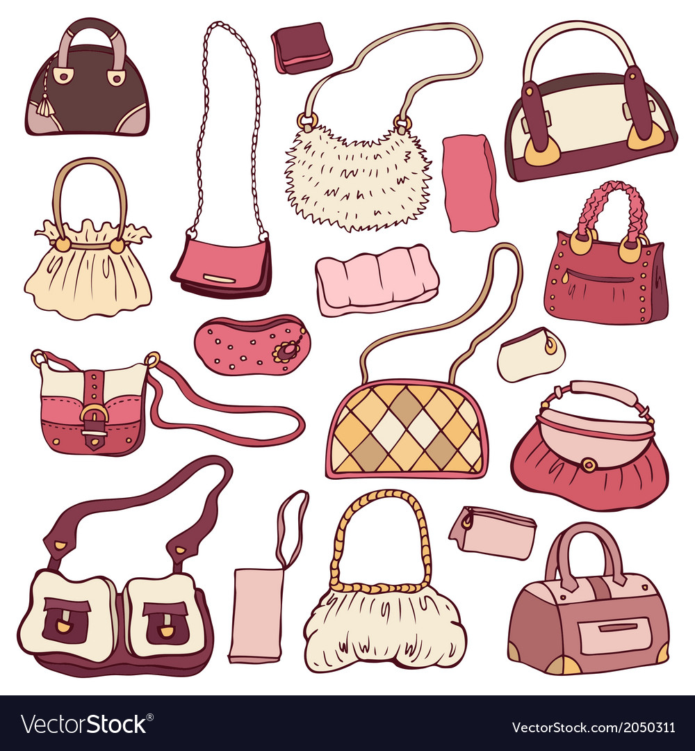 Womens handbags hand drawn set vector