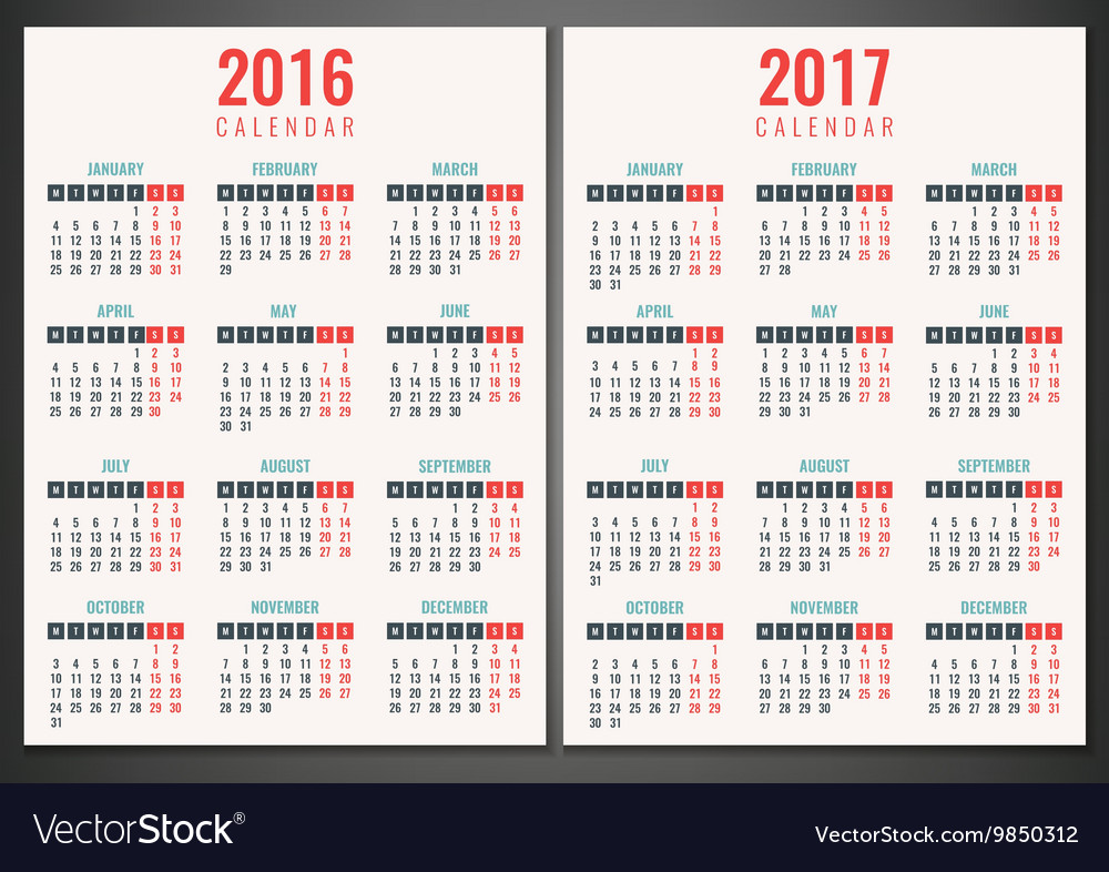 Calendar for 2016 and 2017 week starts monday vector