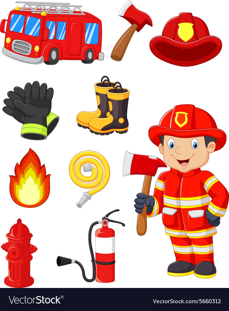 Cartoon collection of fire equipment vector