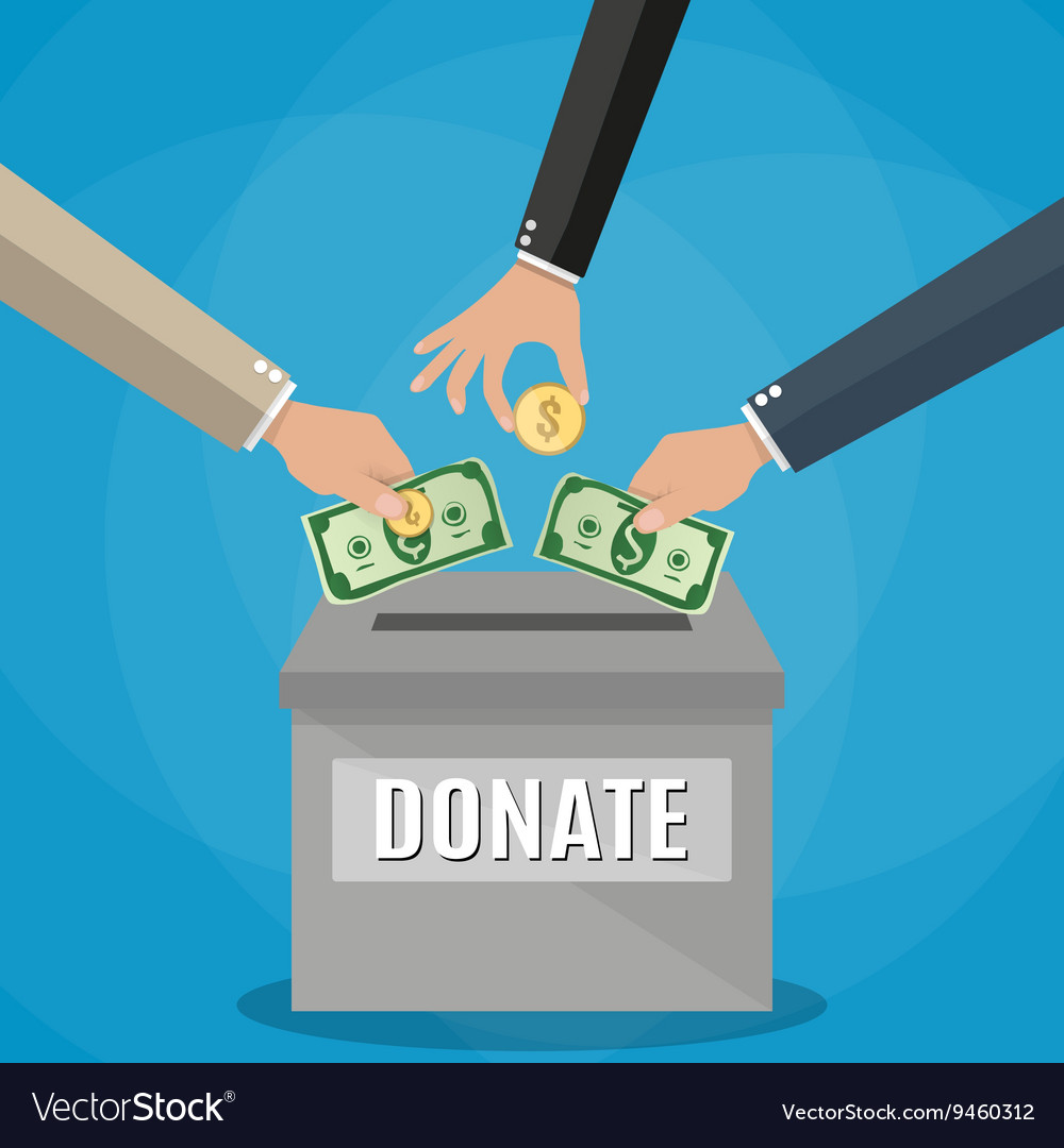 Donations box concept vector