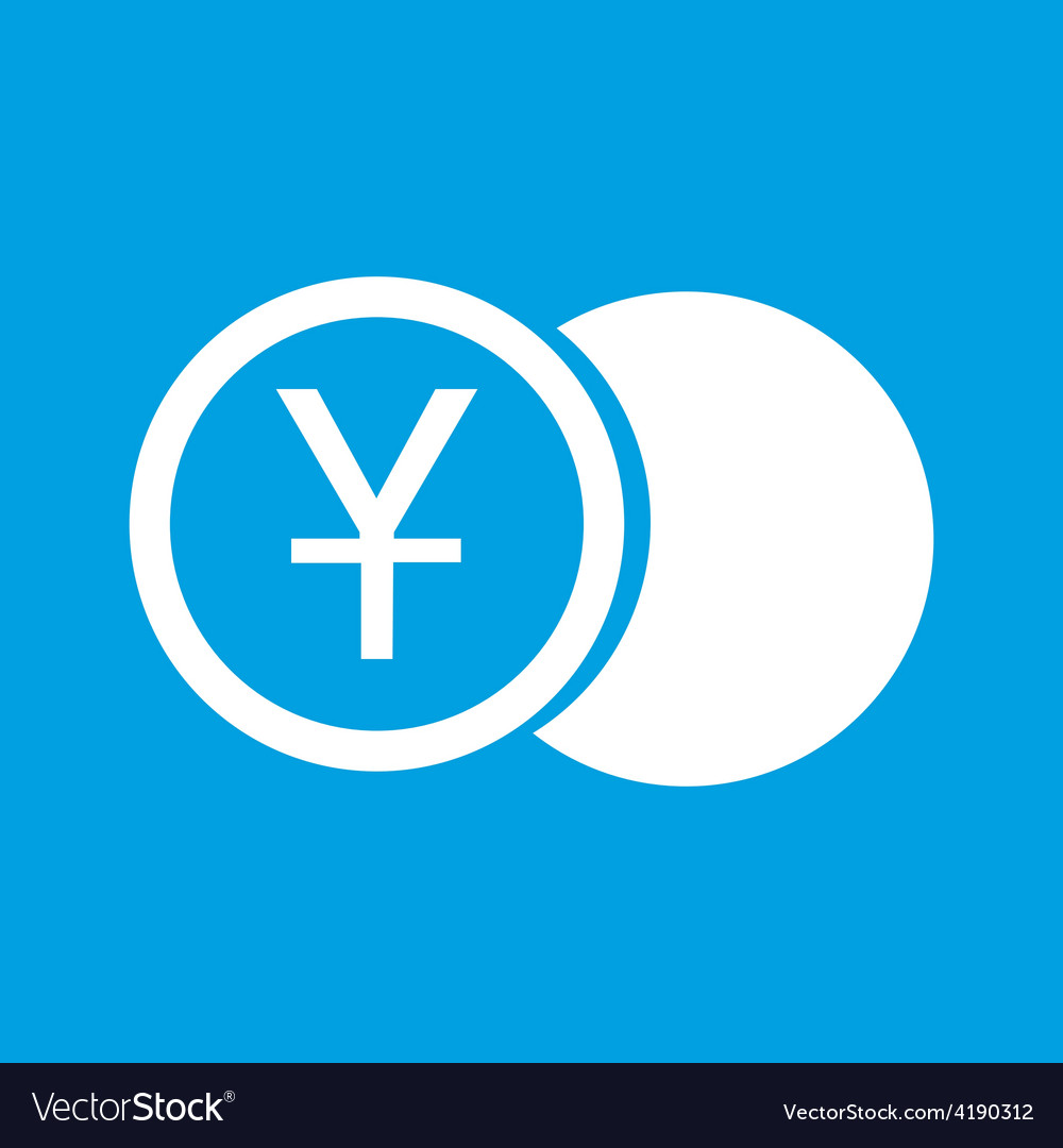 Yen coin white icon vector