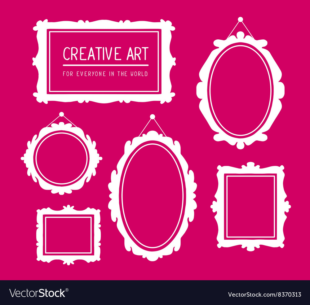 Set of white rectangular and oval frames vector
