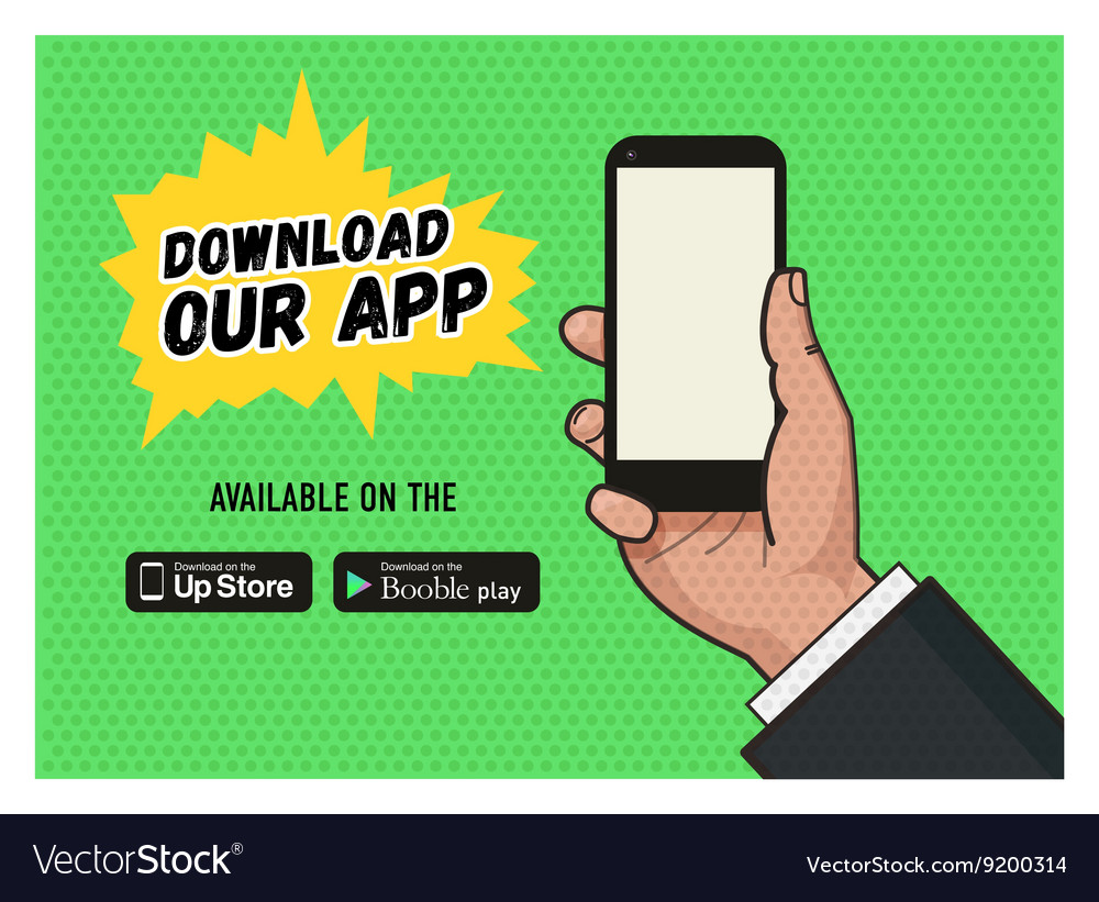 Download page of the mobile messaging app vector