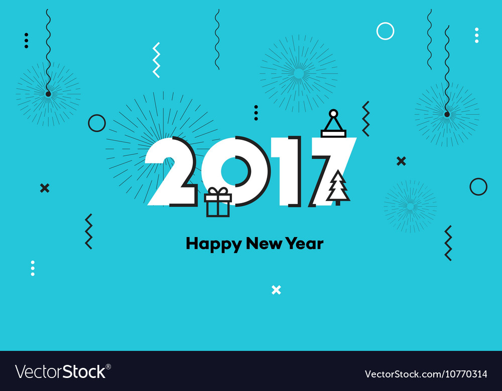 Happy new year 2017 memphis style text design vector
