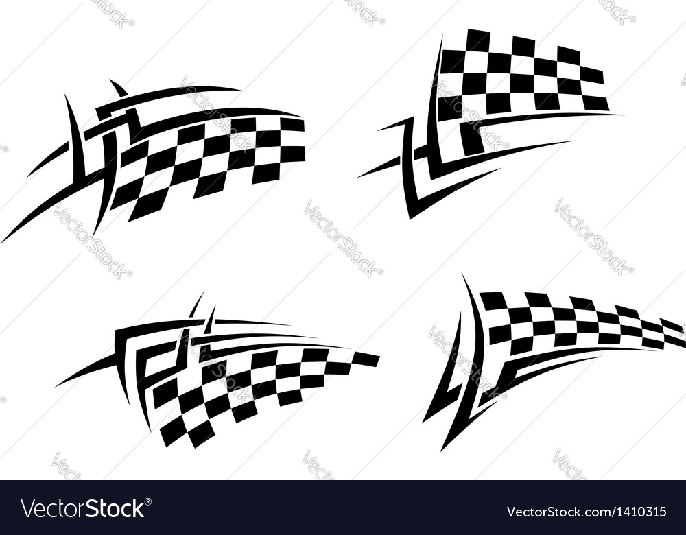 Tribal tattoo with racing flag vector