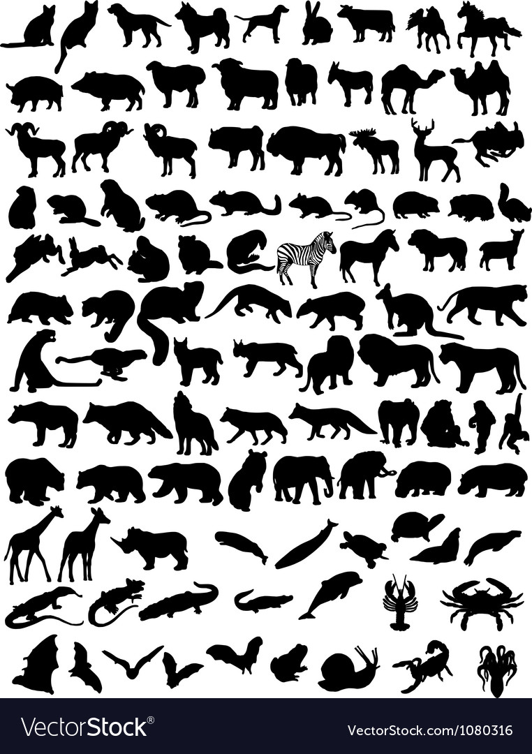 100 animals vector