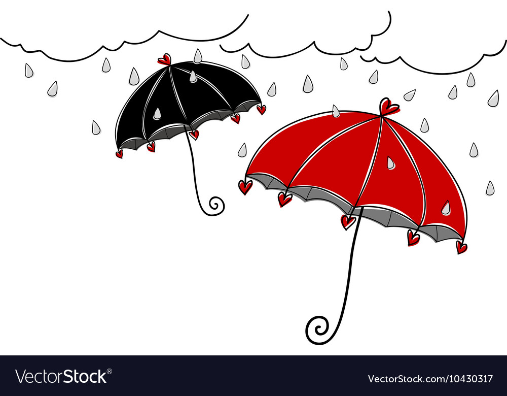 Hand drawn umbrella in rainy day on white backgrou vector