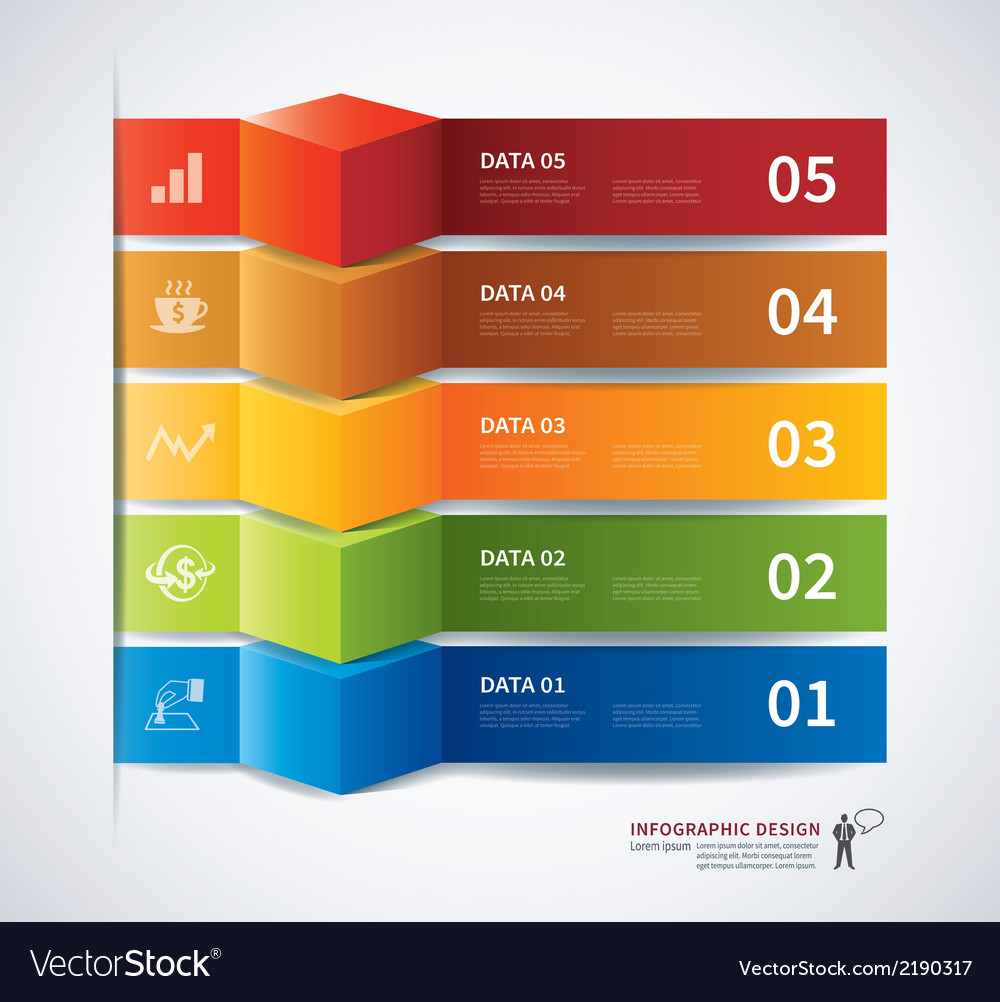 Infographics tab data banner 3d vector