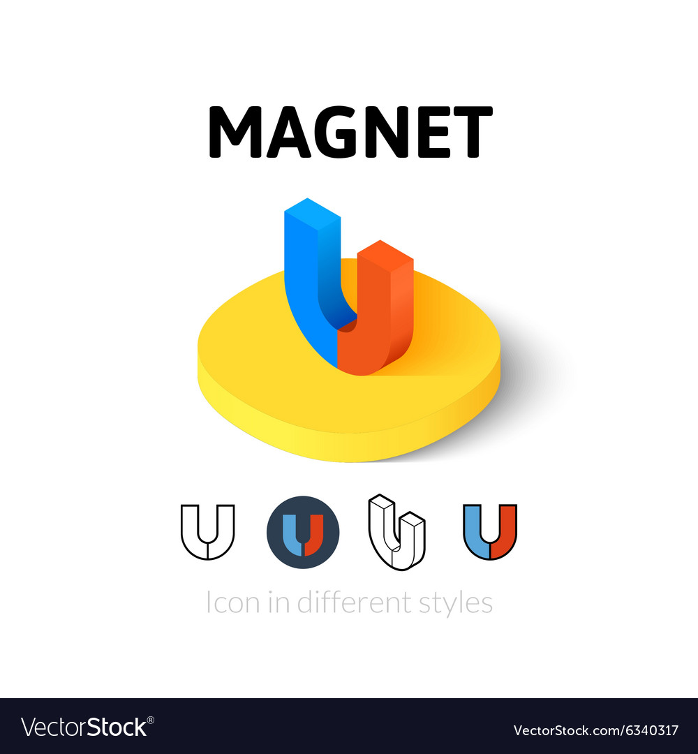 Magnet icon in different style vector