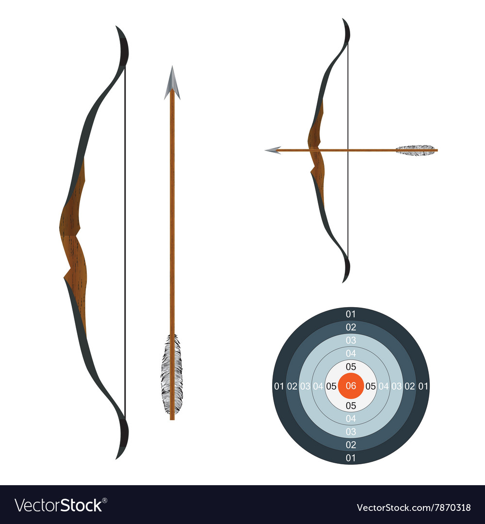 Bow arrow and target vector