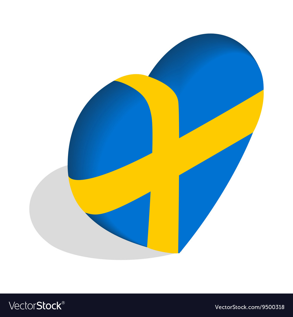 Heart of sweden flag colors icon vector