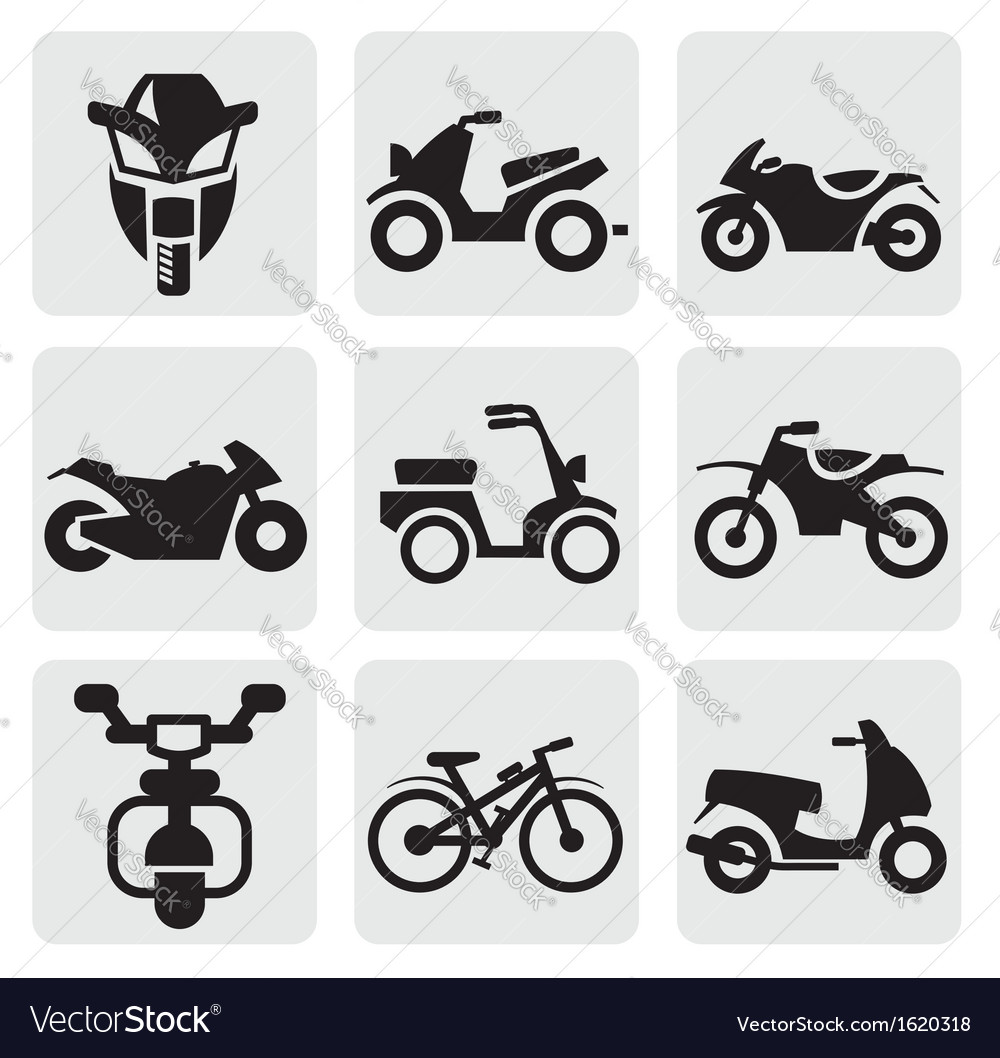Motorcycles and bicycles set vector