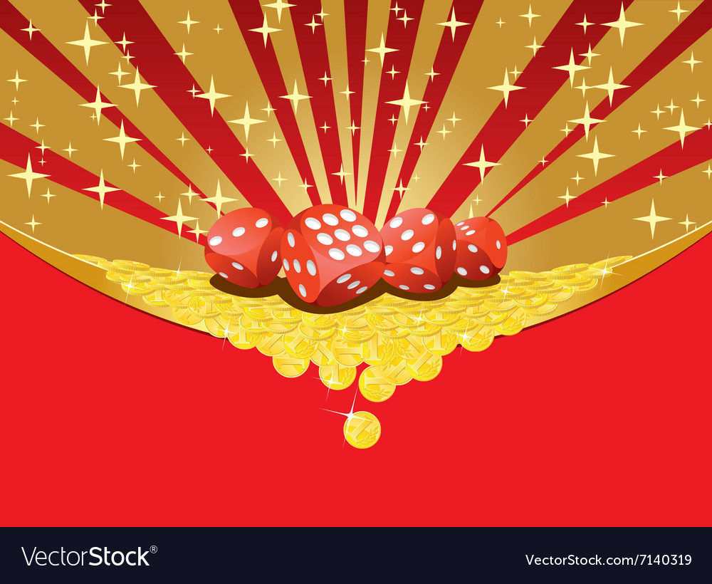 Dices and falling golden coins gambling background vector