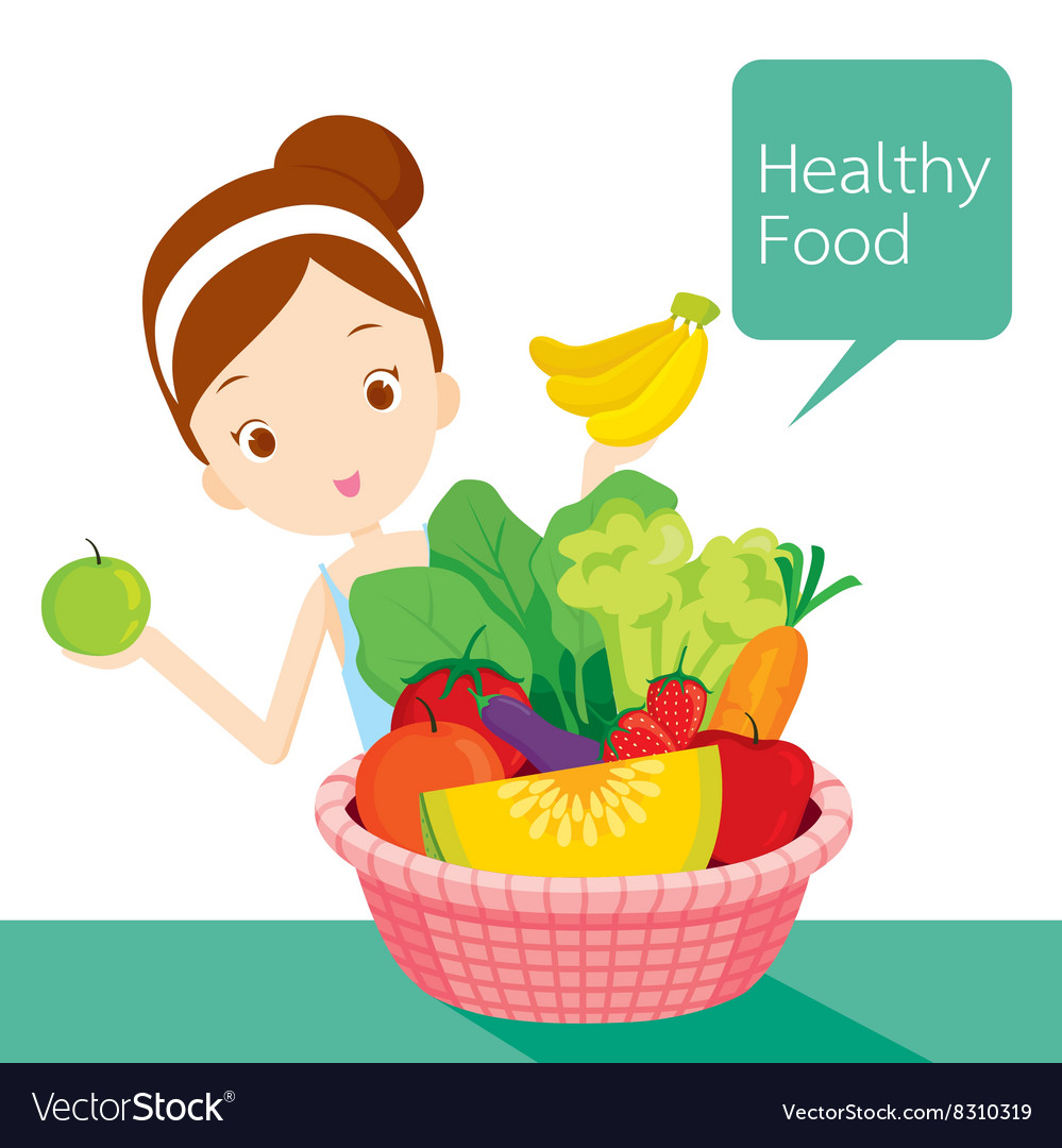 Girl food basket vector