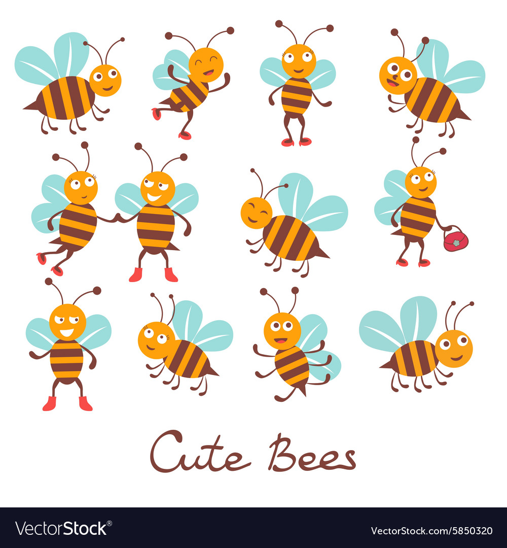 Cute colorfulbee characters set vector