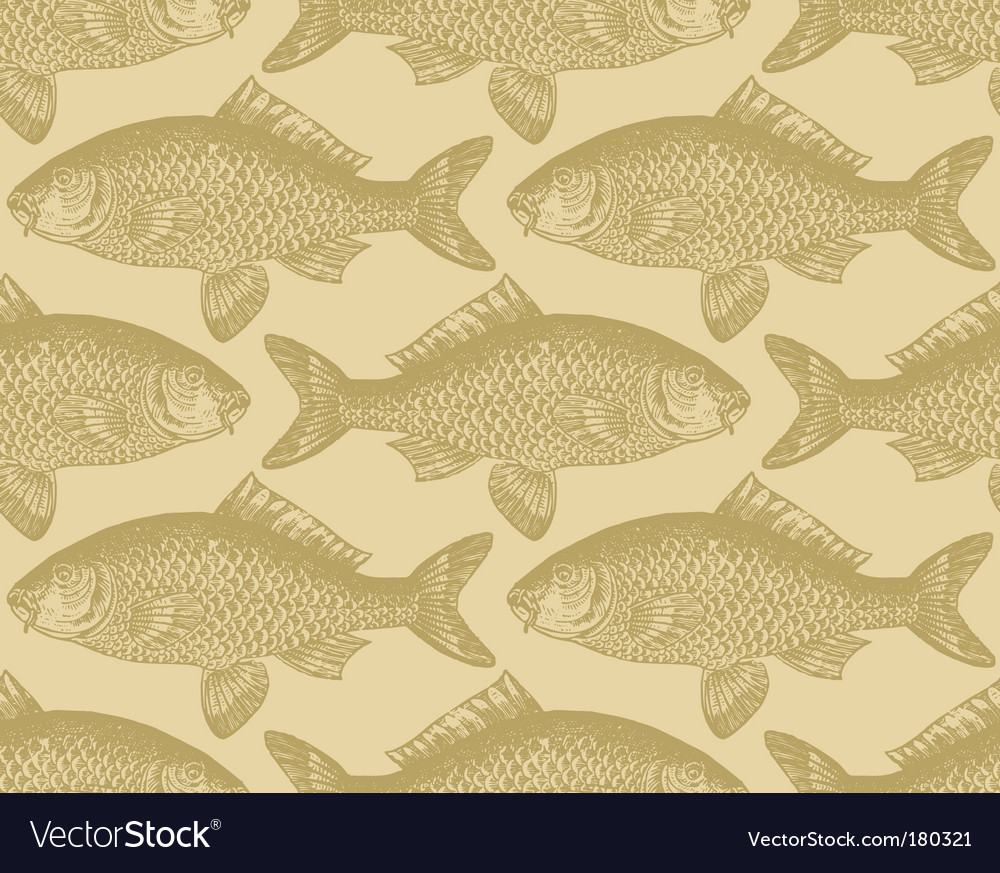 Vintage fish pattern vector