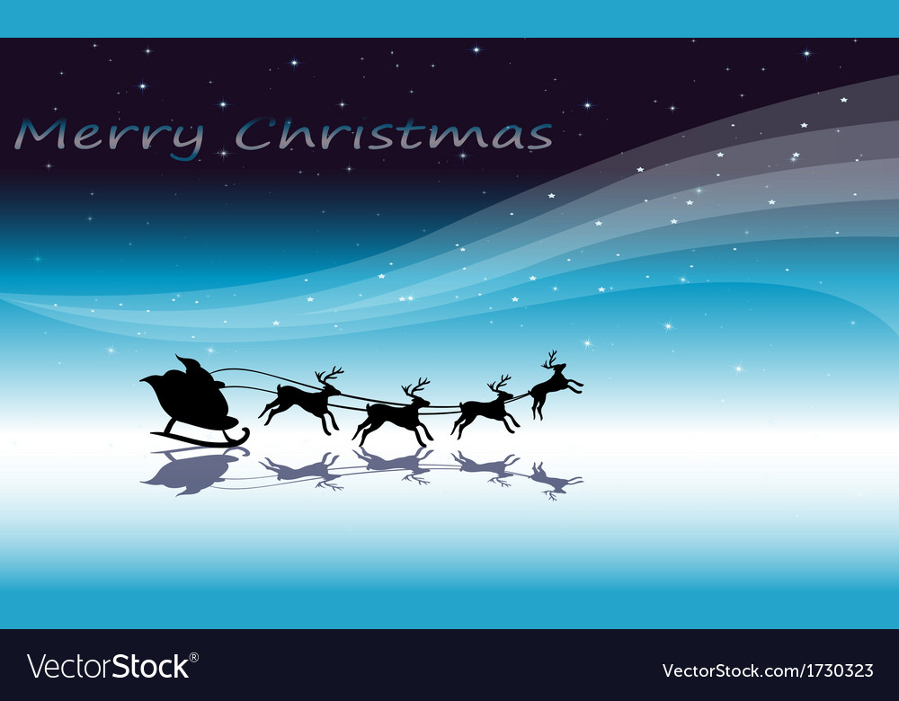 A christmas card template with reindeers vector