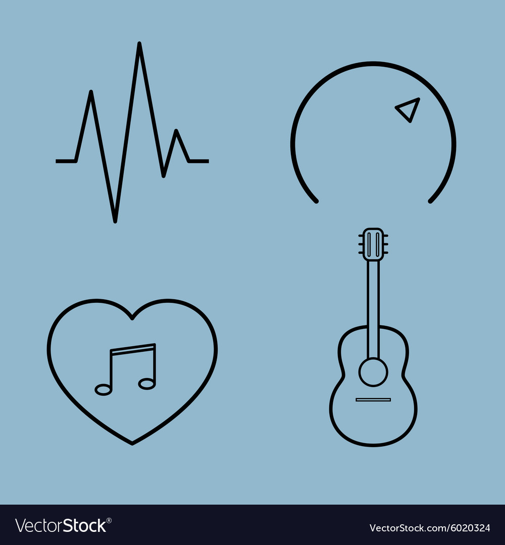 Music line icon set vector