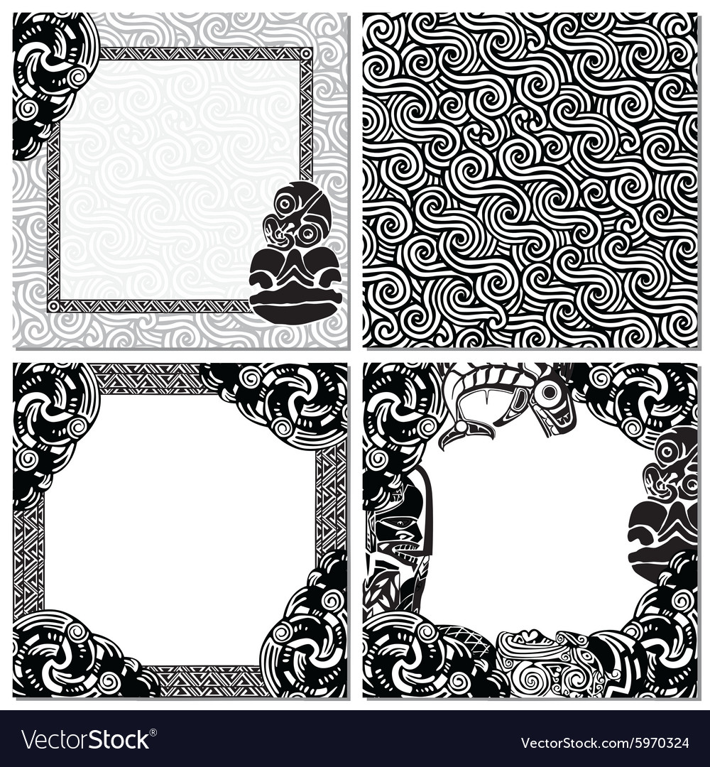 New zealand set of backgrounds with patterns vector