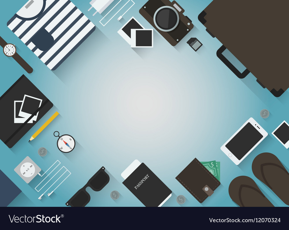Travel objects background vector