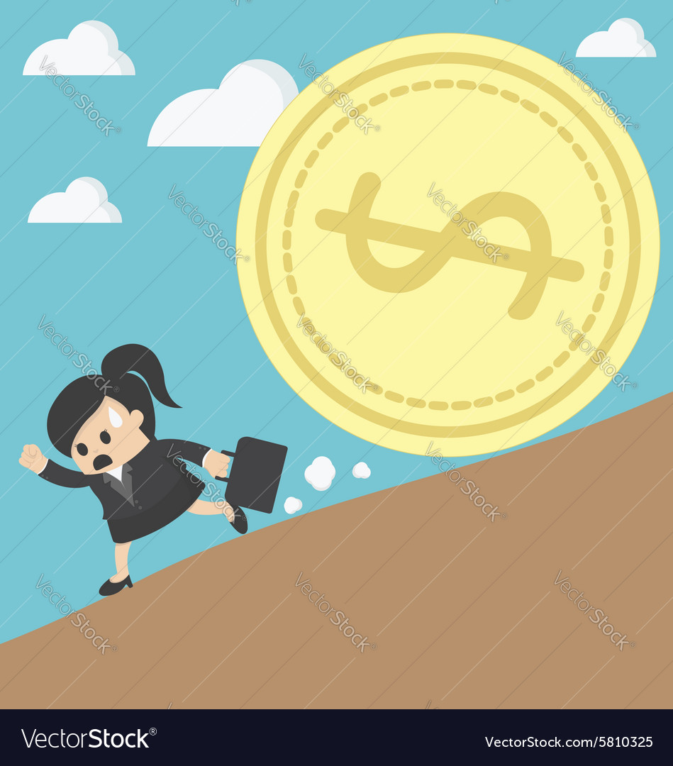 Business woman run money trap vector