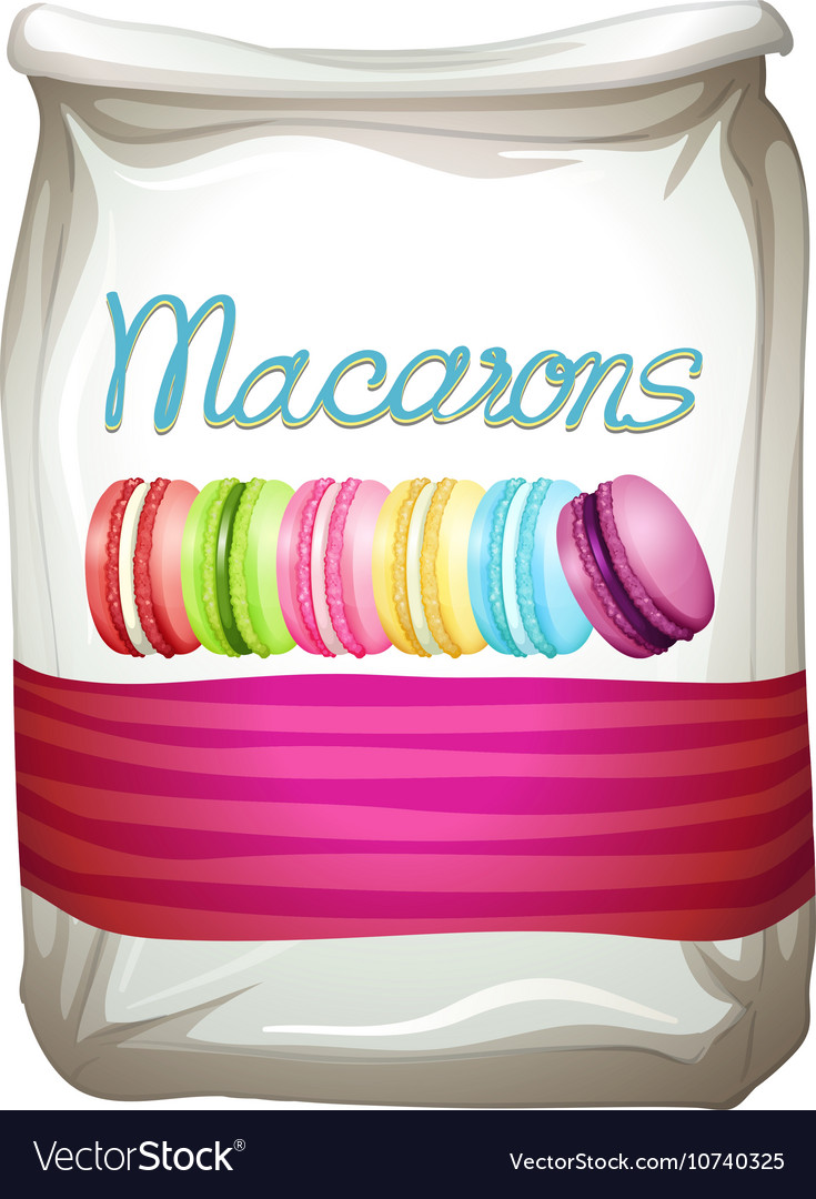 Colorful macarons in bag vector