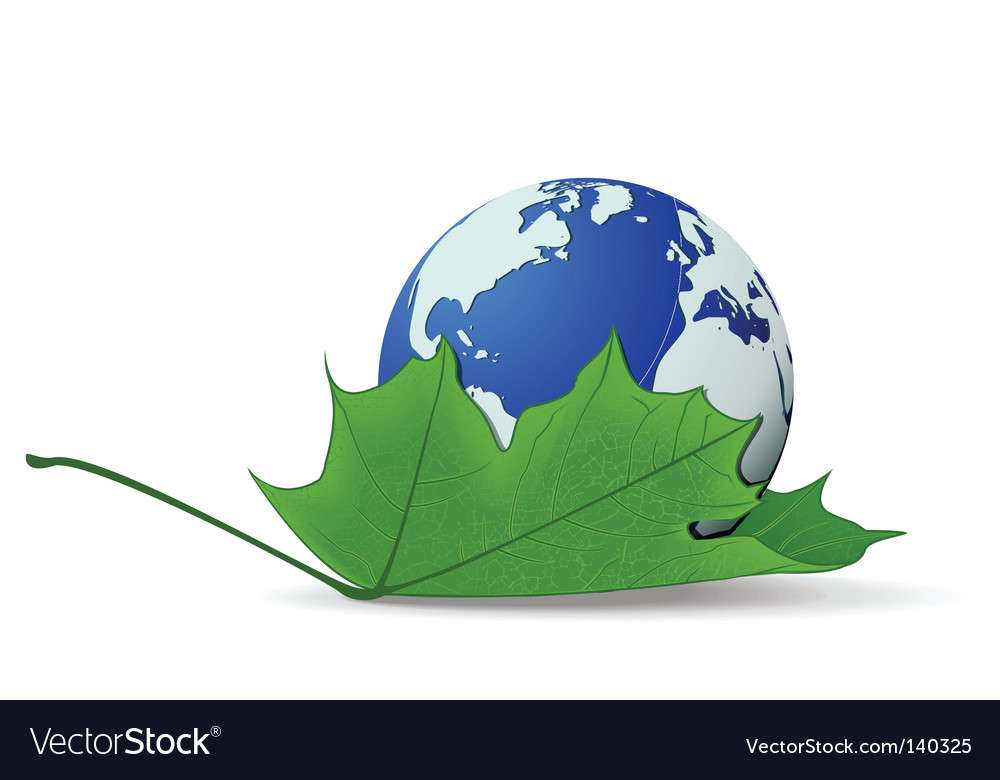 Globe on leaf vector