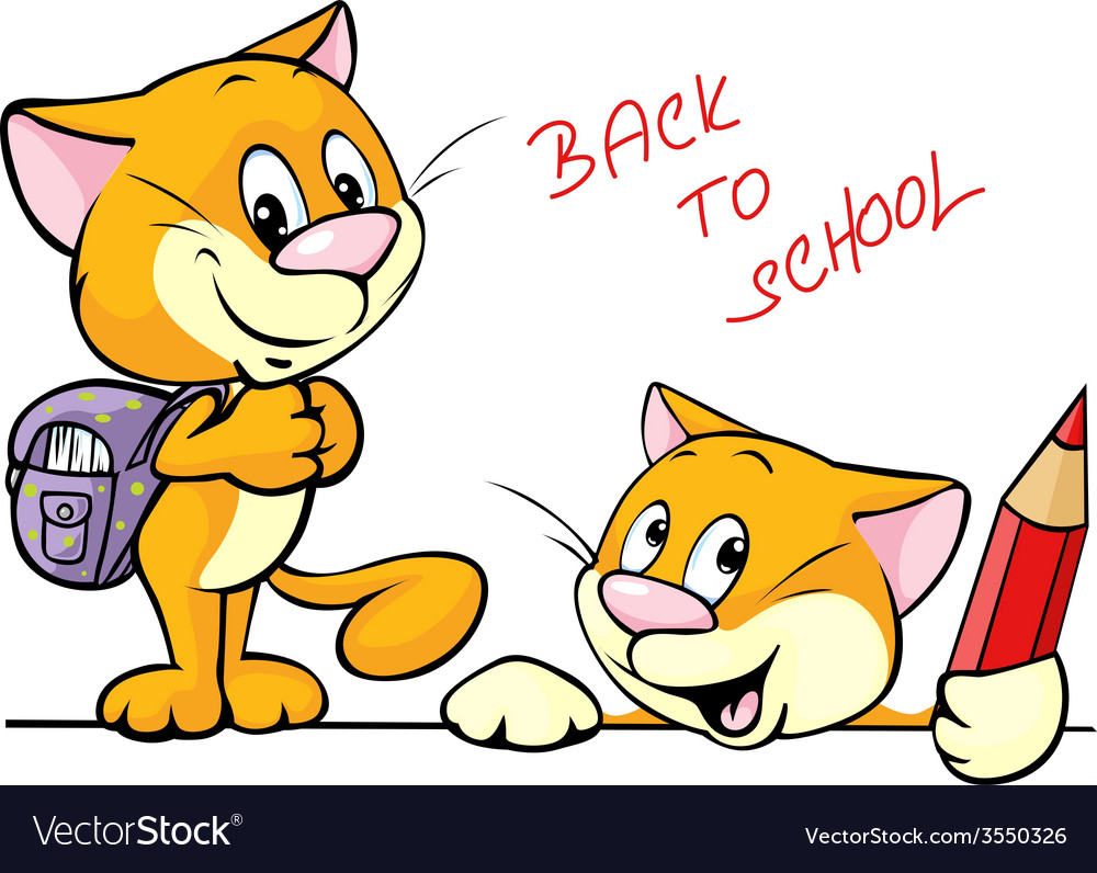 Back to school  cat character with school vector