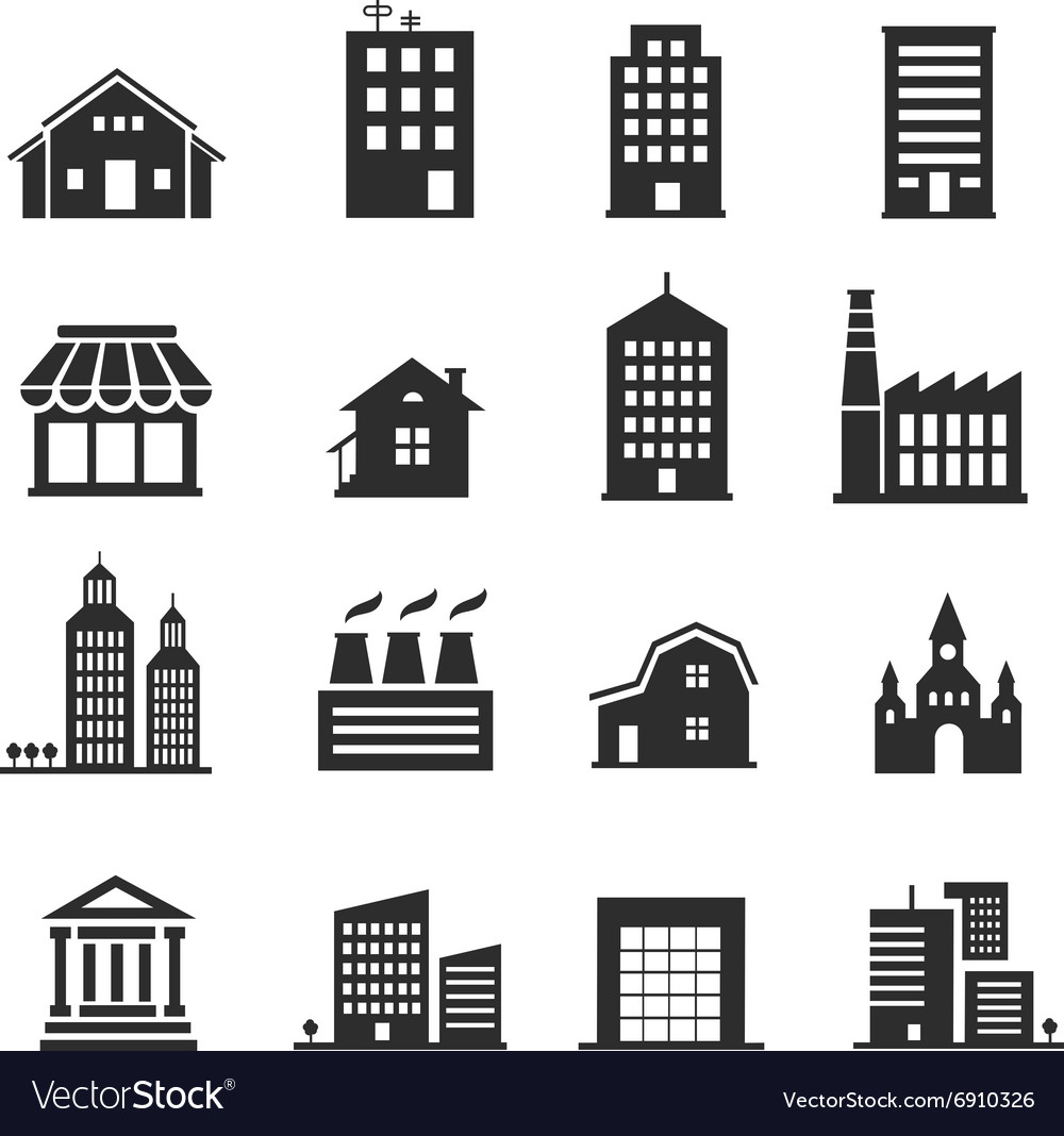 Building shop icon set vector