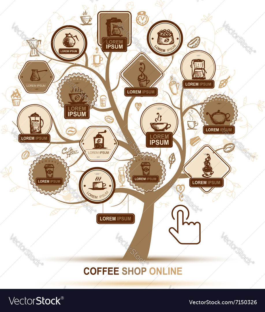 Infographic concept  tree with coffee icons for vector