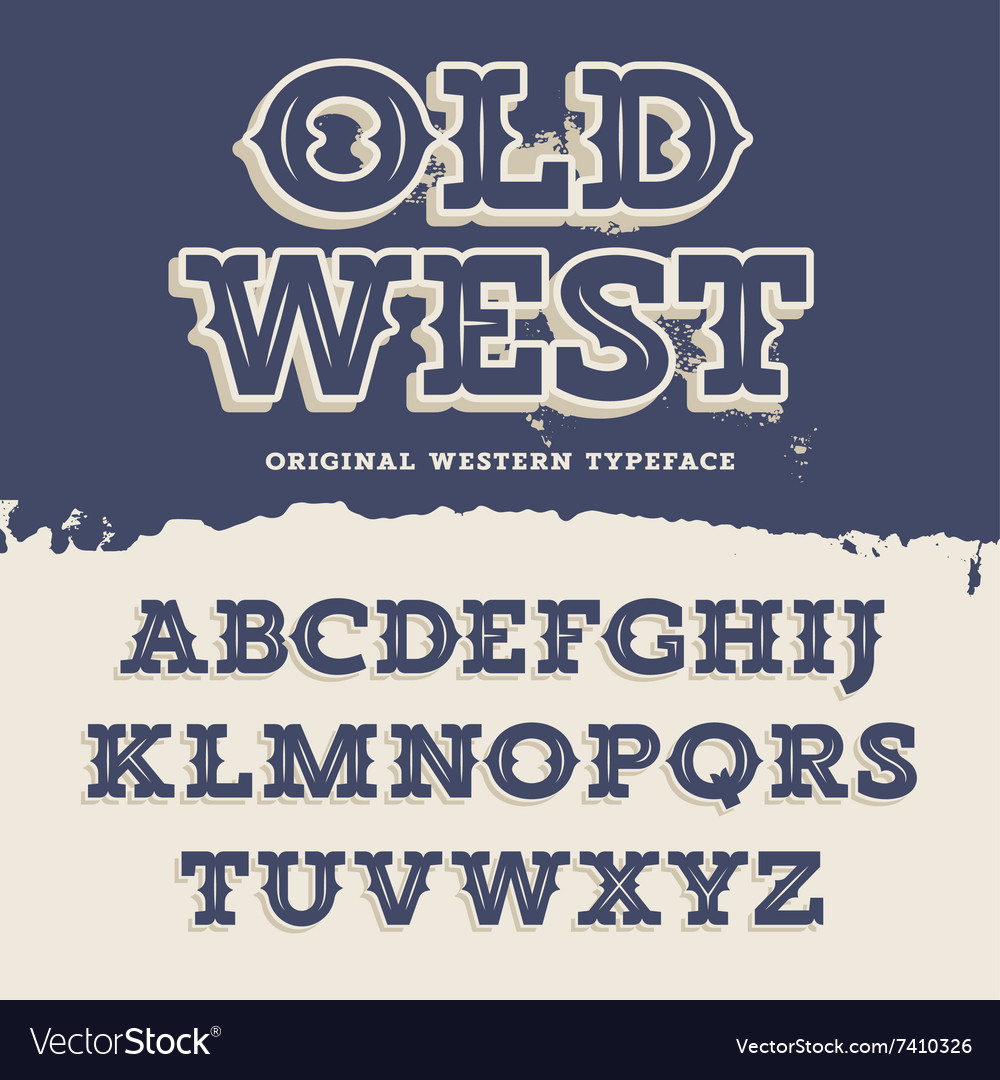 Old west font vector