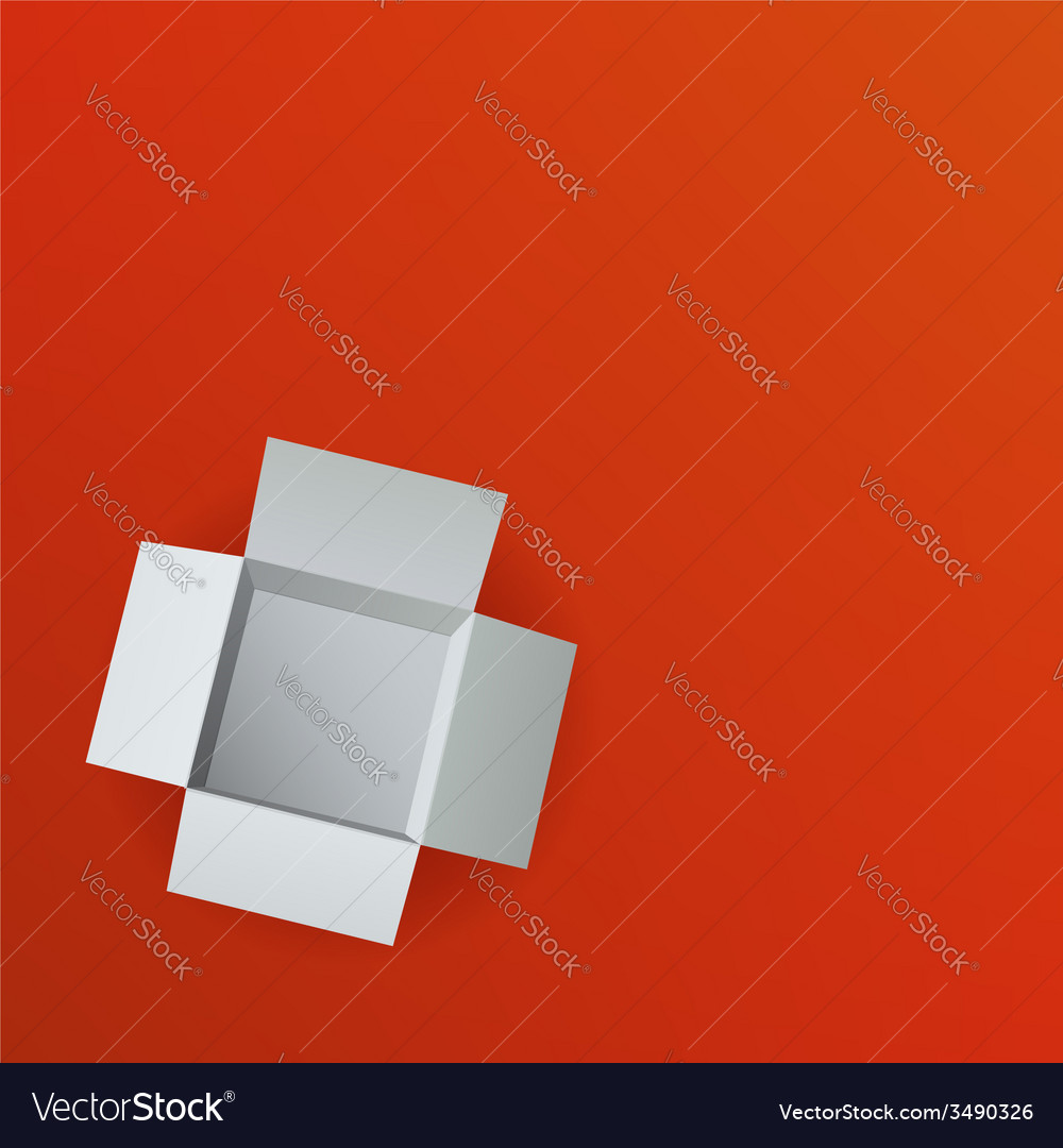 Open box on red background top view vector