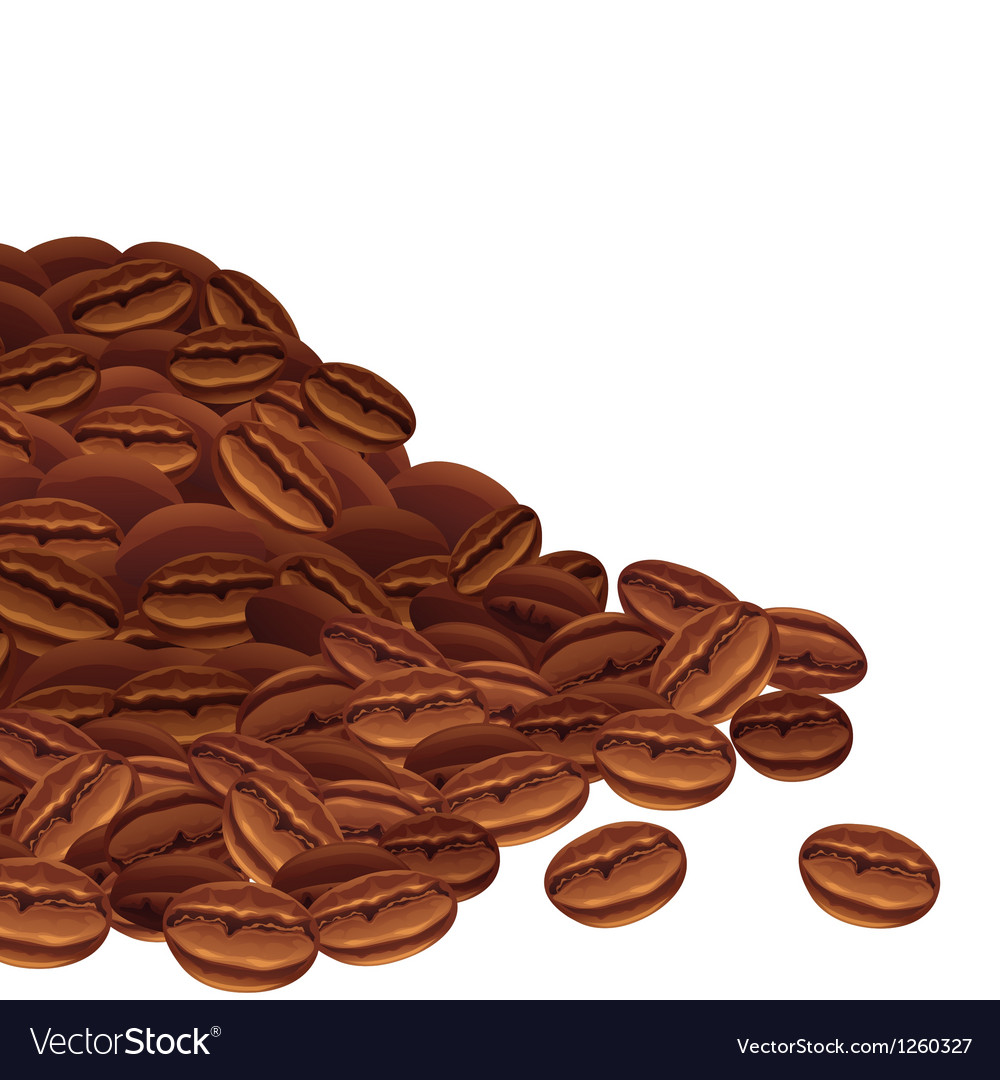 Background with scattered coffee beans vector