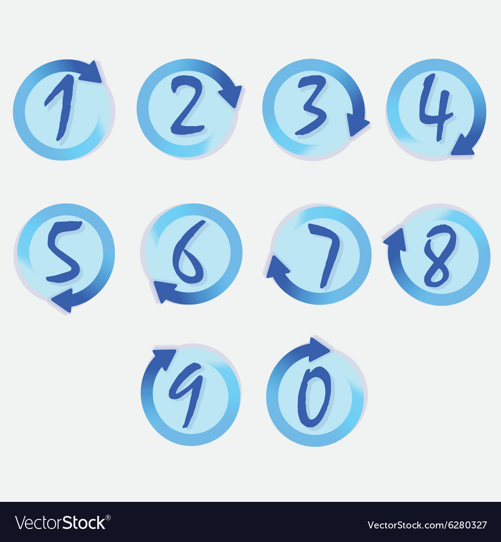 Blue circle hand written brushed numbers set vector