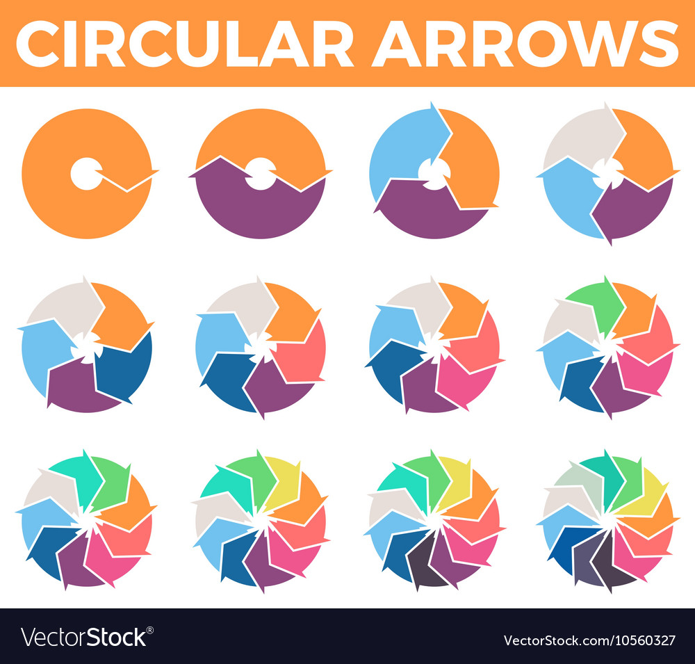 Circular arrows for infographics with 1  12 parts vector