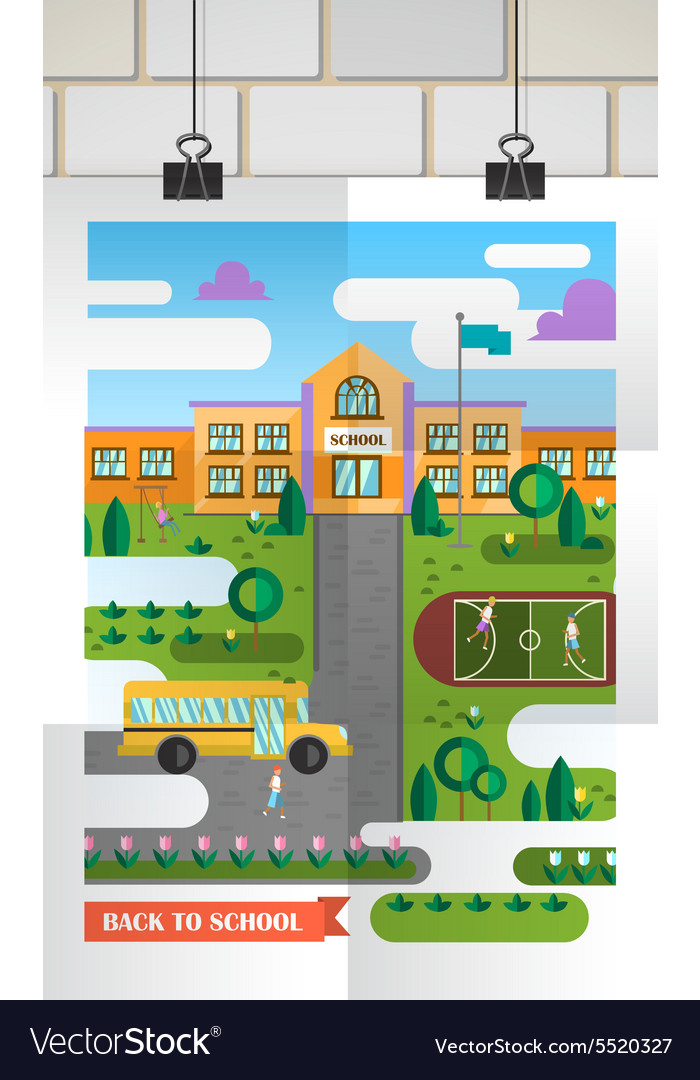Flat back to school vector