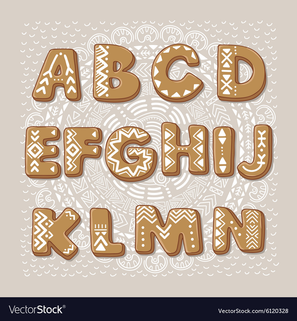 Christmas cookie alphabet font vector